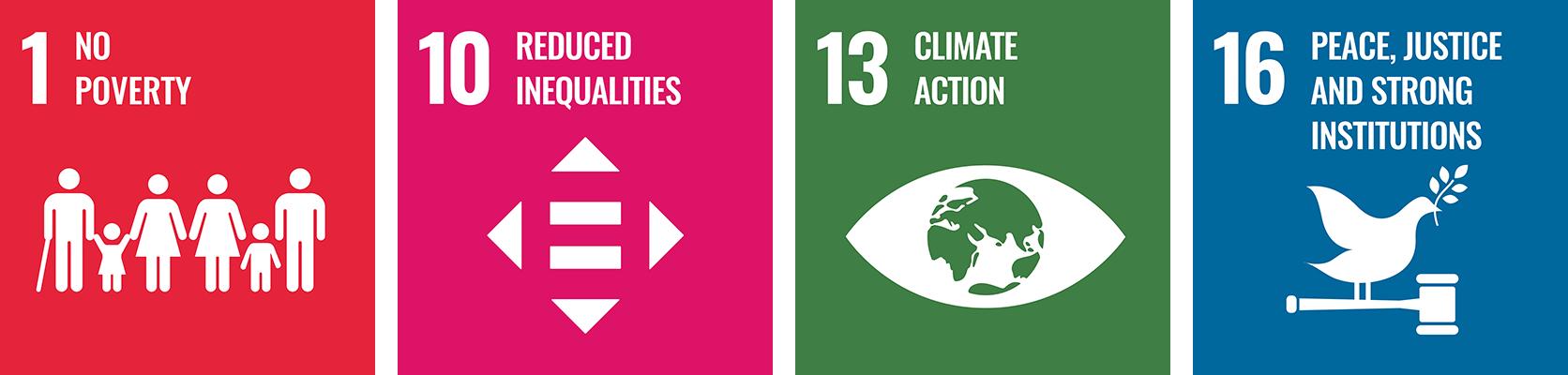 SDG 1, SDG 10, SDG 13, SDG 16